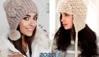 Вязаная шапка-ушанка с помпоном зима 2019-2020
