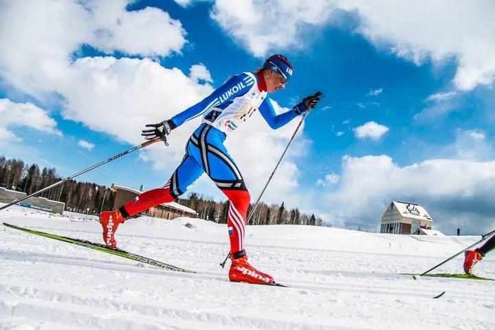 Участник состязания Лыжня России