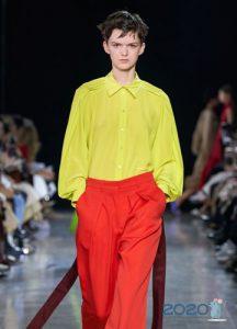 Модная желтая блузка весна-лето 2020