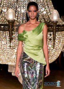 Модная салатовая блузка весна-лето 2020