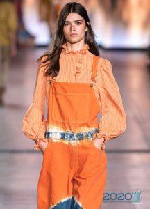 Оранжевая блузка весна-лето 2020