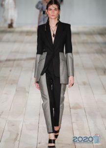 Брюки из комбинированных тканей мода 2020 года