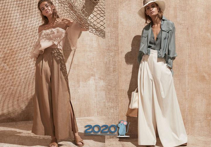 Модные широкие брюки палаццо весна-лето 2020
