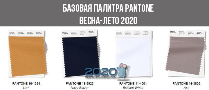 Базовая палитра Пантон весна-лето 2020 (4 оттенка)