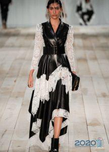 Кожаное асимметричное платье весна-лето 2020