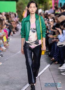 Яркая зеленая куртка весна-лето 2020 из натуральной кожи