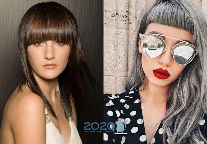 Длинные волосы с короткой челкой - тренд 2020 года