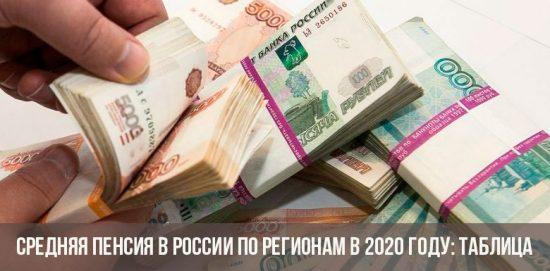 Средняя пенсия в России по регионам в 2020 году
